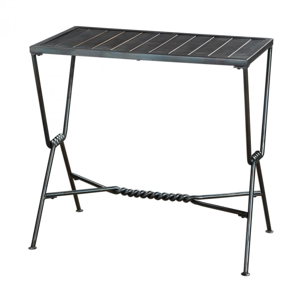 uttermost gauther aged steel accent table lighting emporium furn metal folding wooden bedside lamps west elm and chairs high top with wine rack oval dining cover grey recliner