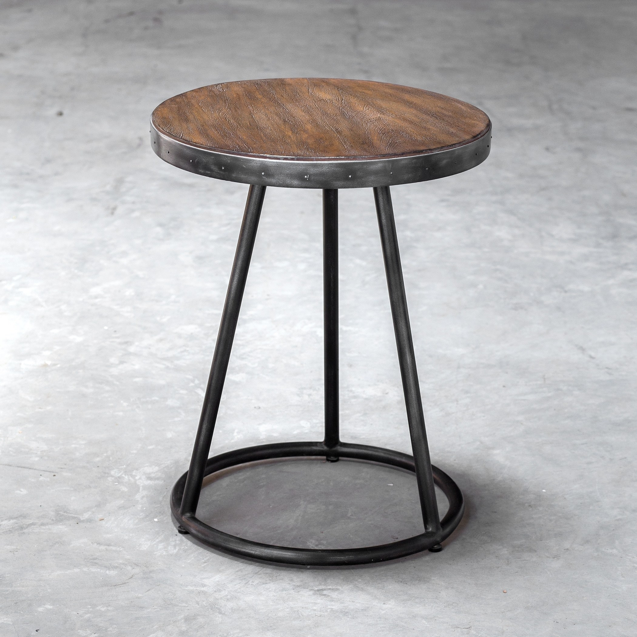 uttermost hector light grey and aged steel round accent table free shipping today orient lighting bathroom makeovers modern mirrored coffee glass iron side antique pedestal end
