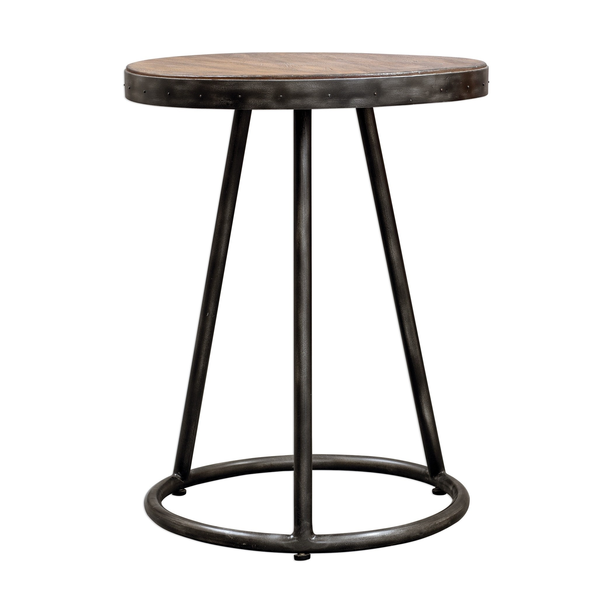 uttermost hector light grey and aged steel round accent table wood free shipping today bunnings outdoor seating samuelle end square cherry coffee making rustic front door