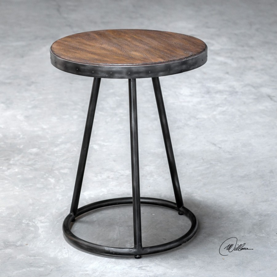 uttermost hector round accent table light gray glazed fruitwood stain and aged steel black linen tablecloth marble with chairs antique wheels for coffee modern contemporary