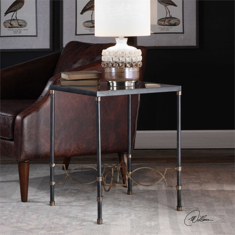 uttermost josie industrial black accent table mybarnwoodframes jinan indoor outdoor furniture small foyer decoration ideas metal glass top tables leather living room sets coffee