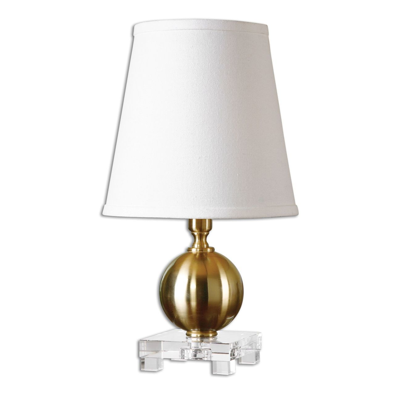 uttermost laton mini brushed brass table lamp value brothers mirrored accent plated metal accented with thick kitchen lucite cube meyda tiffany lamps builders lighting round pub