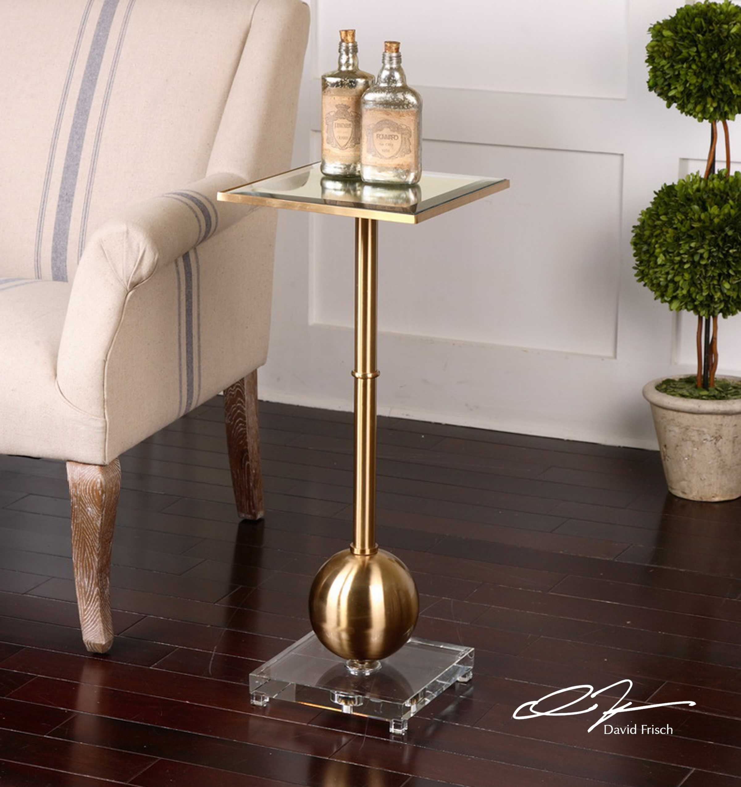 uttermost laton mirrored accent table west elm tripod floor lamp bulk linens blue and white ginger jar lamps silver trunk coffee metal hairpin legs antique side kitchen pier one