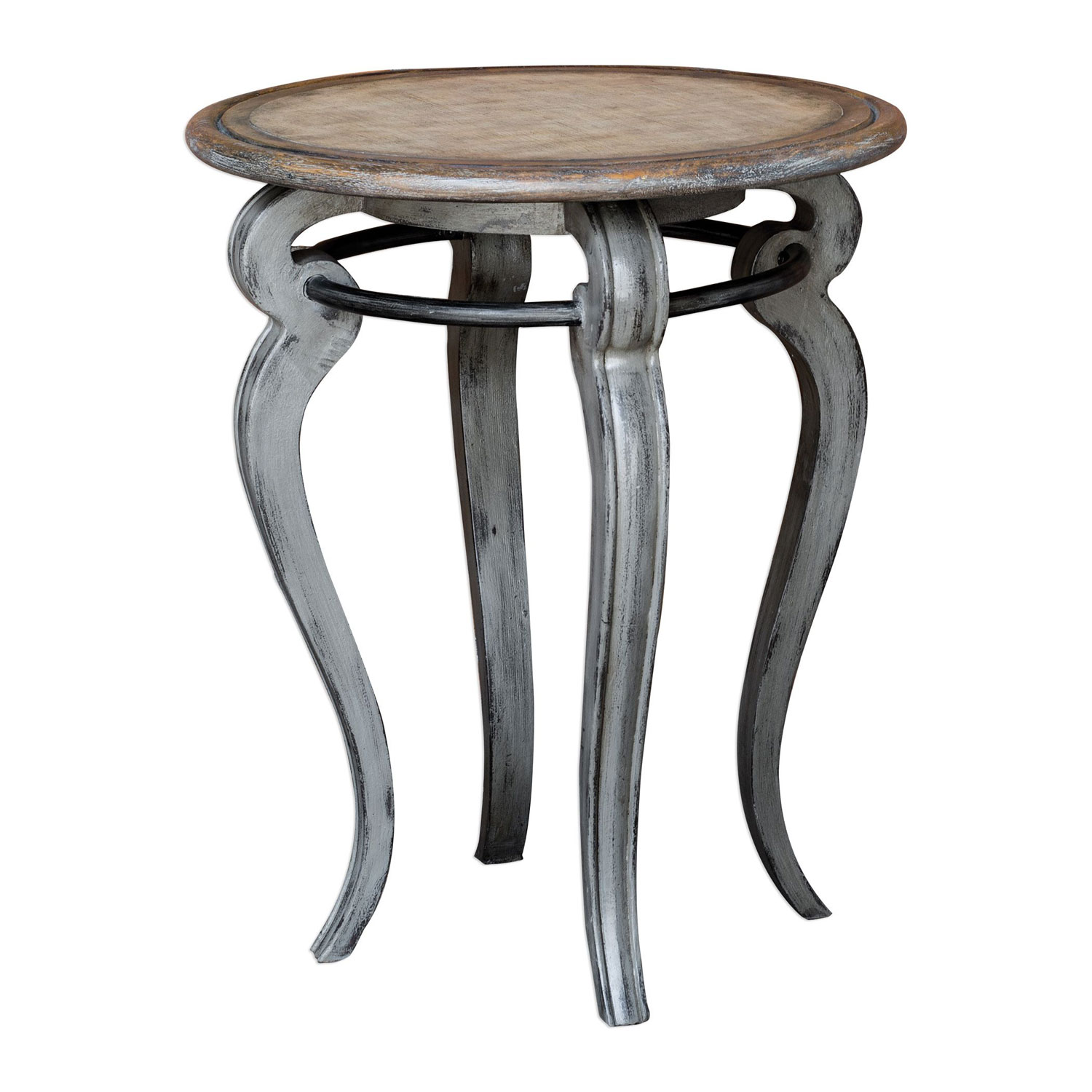 uttermost mariah round gray accent table bellacor hover zoom modern pedestal small console chest double pedal drum black iron bedside grill chef wood coffee with drawers