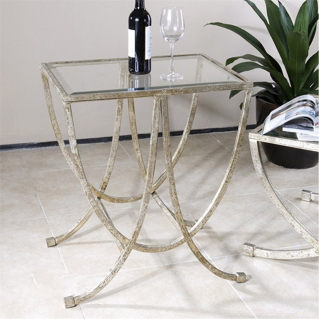uttermost marta antiqued silver leaf accent tables mid century table side butterfly lighting steel and glass carpet tile separator mudroom storage units gold metal console plum