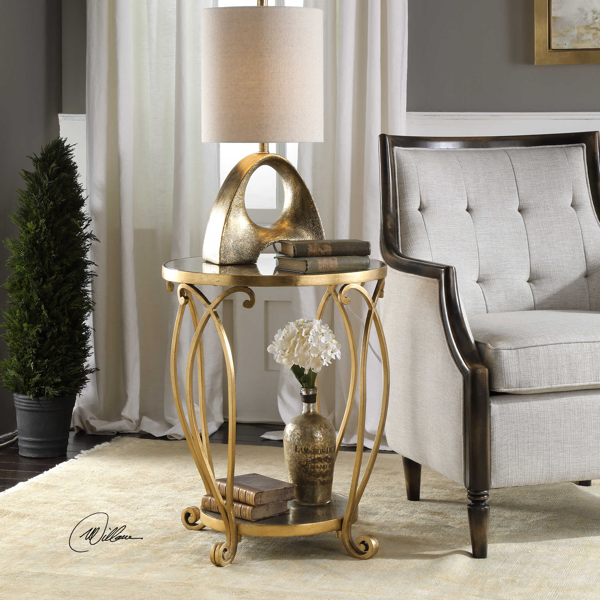 uttermost martella round gold accent table wood and metal end laton mirrored bamboo nesting tables entry console kohls floor lamps mosaic outdoor furniture glass iron side runner