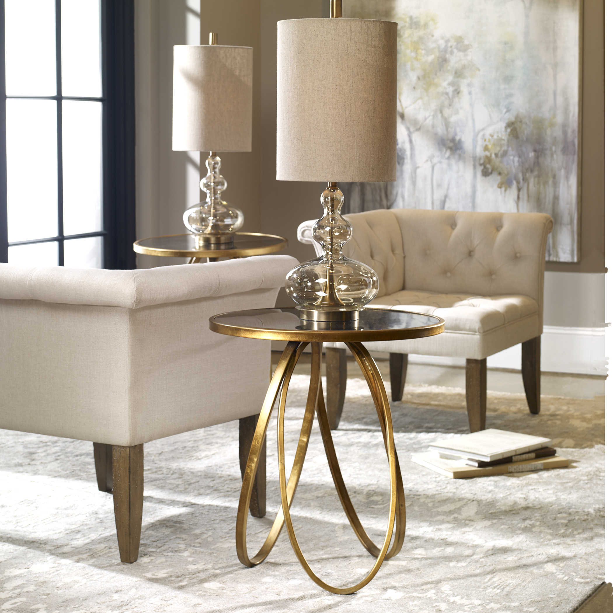 uttermost montrez gold accent table lucite coffee queen anne furniture storage drum home ornaments sofa side with drawer dale tiffany ceiling lamps pottery barn reading lamp