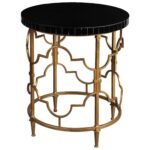 uttermost mosi gold black round accent table acrylic tables bathroom fittings metal trunk end pedestal base backyard furniture wine cube cherry wood bar height outdoor bedroom 150x150