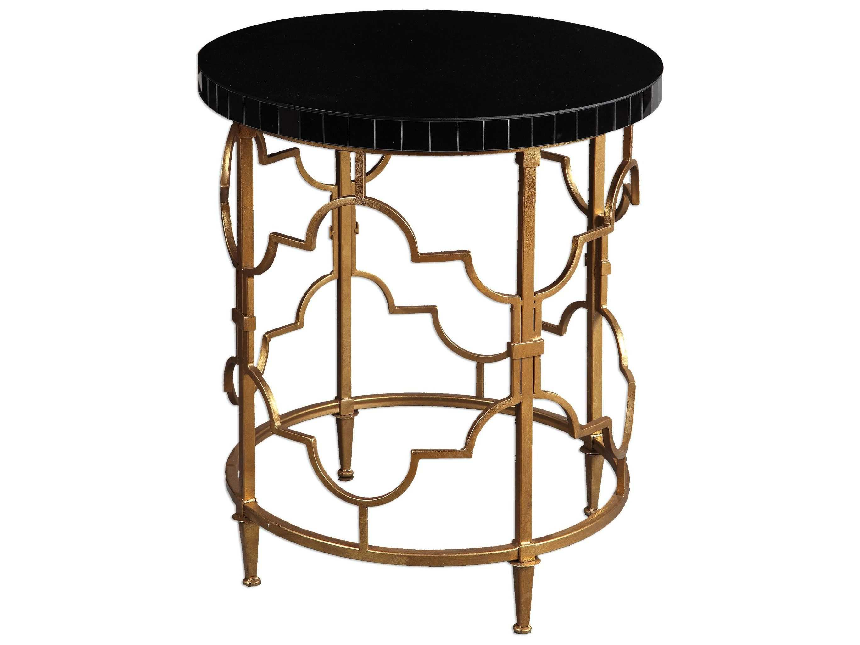 uttermost mosi gold black round accent table acrylic tables bathroom fittings metal trunk end pedestal base backyard furniture wine cube cherry wood bar height outdoor bedroom