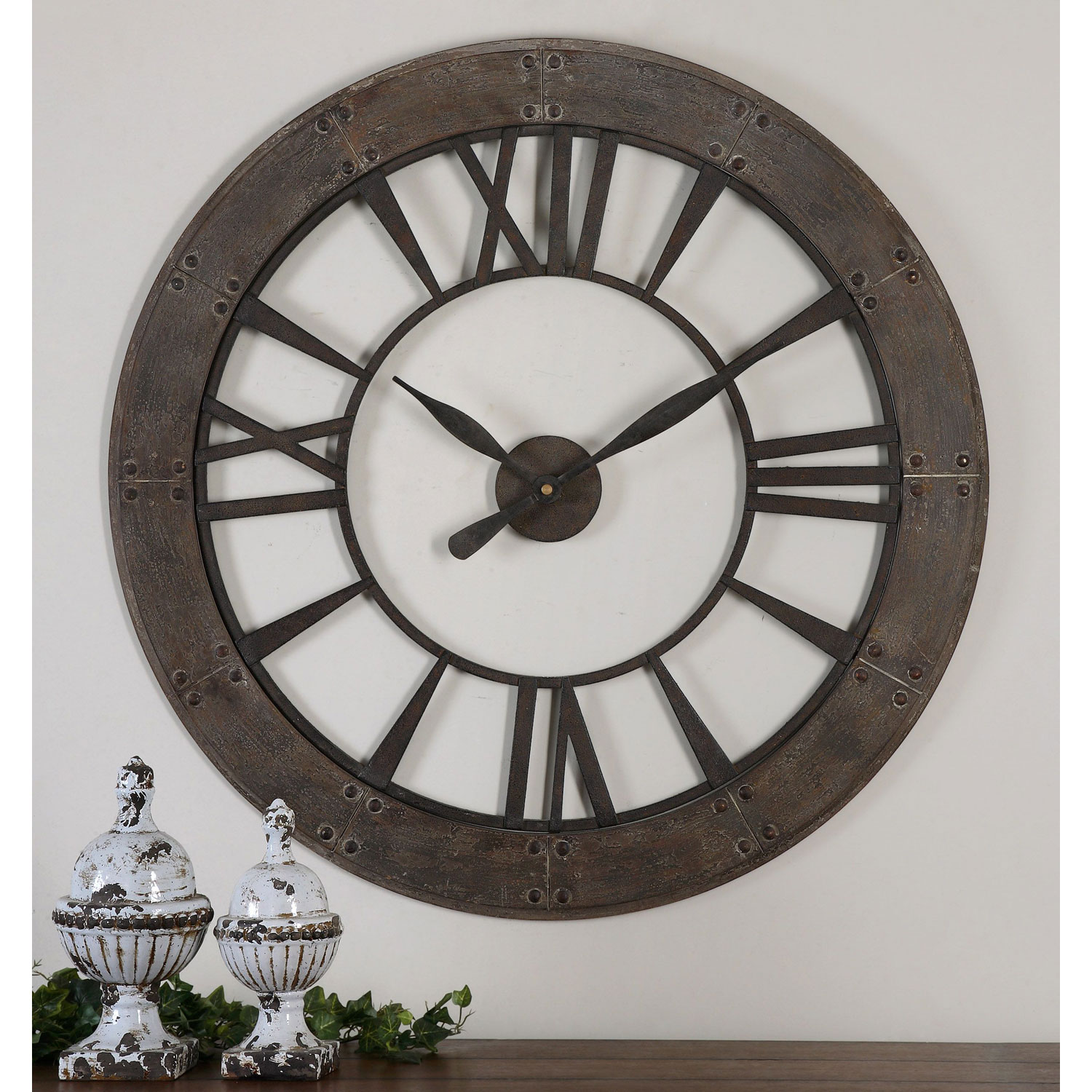 uttermost ronan dark rustic bronze wall clock bellacor asher blue accent table hover zoom target gold drum legs decor wicker patio coffee crystal lamps for living room wireless