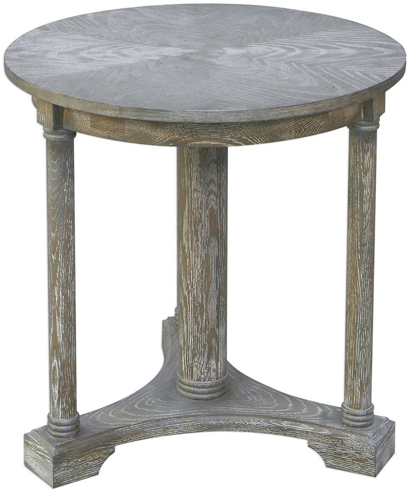 uttermost thema casual weathered gray oak accent table loading zoom target wood and metal side coffee tray small console cabinets with glass doors vintage legs pottery barn brass
