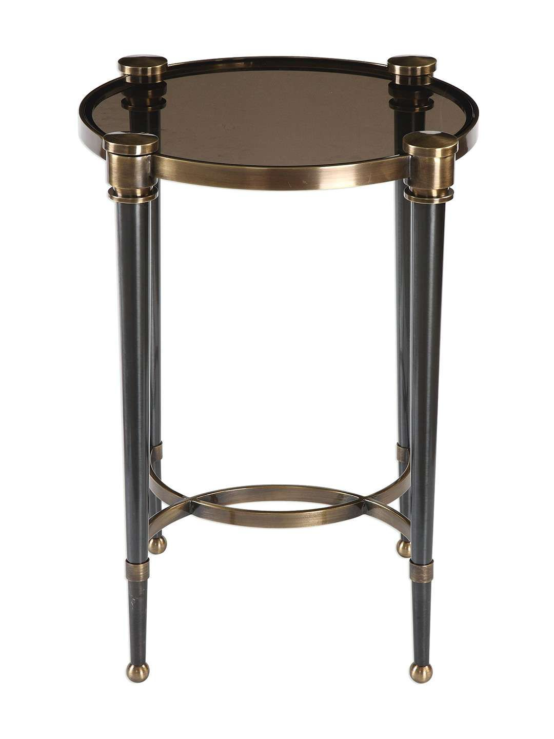 uttermost thora round accent table iron glass top features brushed tapered legs assembly required measurements wicker chair spring haven collection mission style lighting west elm