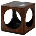 uttermost tura cube accent table andson dice red richly grained zebra wood veneer with open cutouts and clear glass top teak furniture sydney home decor better homes gardens 150x150