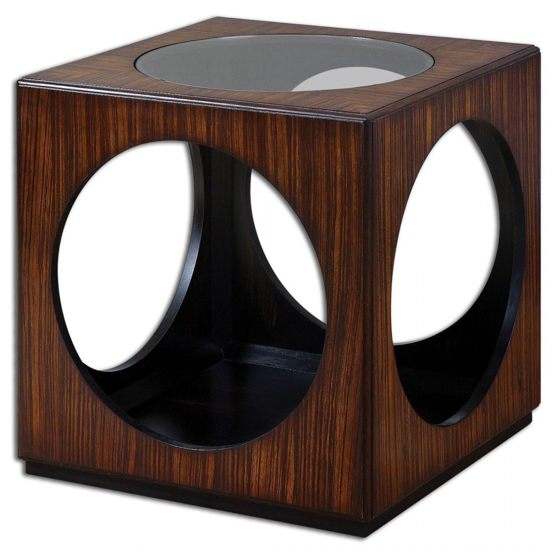 uttermost tura cube accent table andson dice red richly grained zebra wood veneer with open cutouts and clear glass top teak furniture sydney home decor better homes gardens