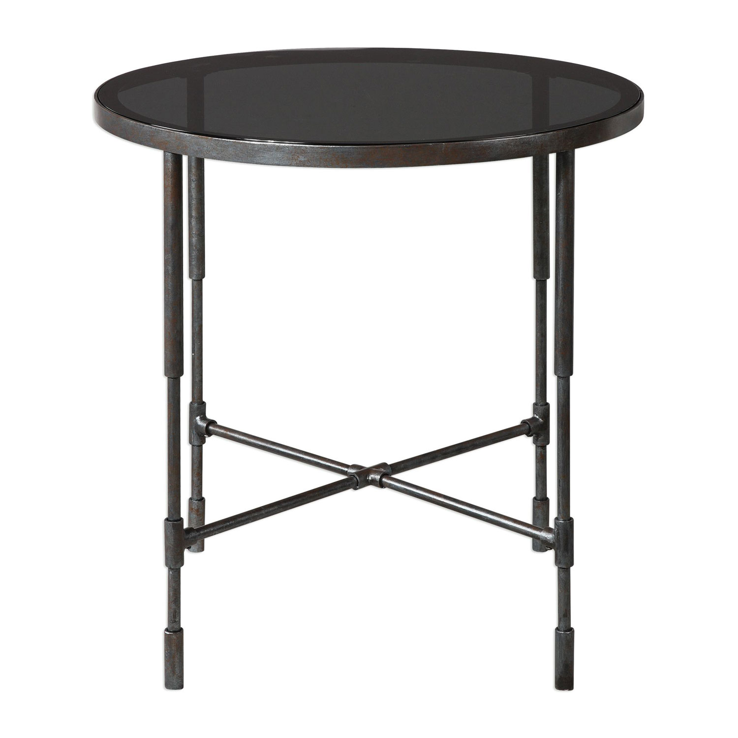uttermost vande aged steel accent table bellacor round metal glynn hover zoom outdoor rattan chairs black dining unfinished furniture high top pub nesting tables with wheels west
