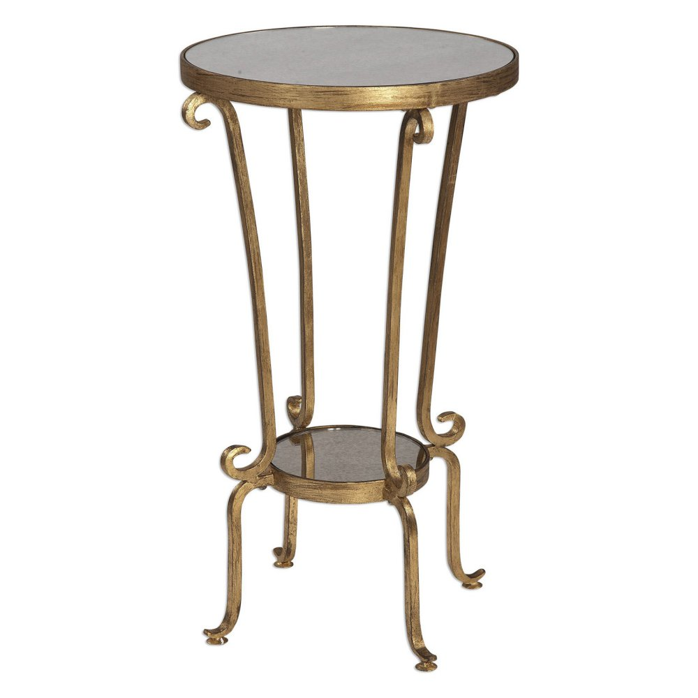 uttermost vevina round accent table antiqued gold antique mirror master glass tea home decorators catalog unique small tables hallway console ikea white storage unit target patio