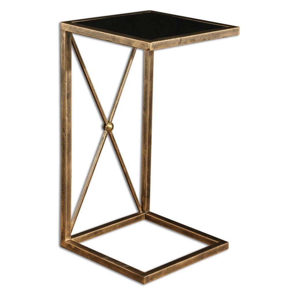 uttermost zafina gold side new house interior black glass accent table with tempered top end tables wall mounted floral chair patio seat covers dressing ornaments turquoise coffee
