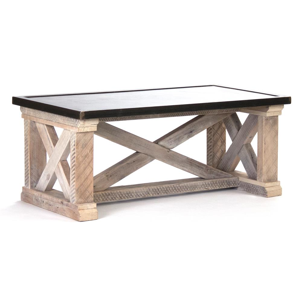 valerya zinc top chunky rustic solid wood coffee table kathy kuo home product accent unfinished legs console chest round side cloth ikea wooden storage box with lid high end