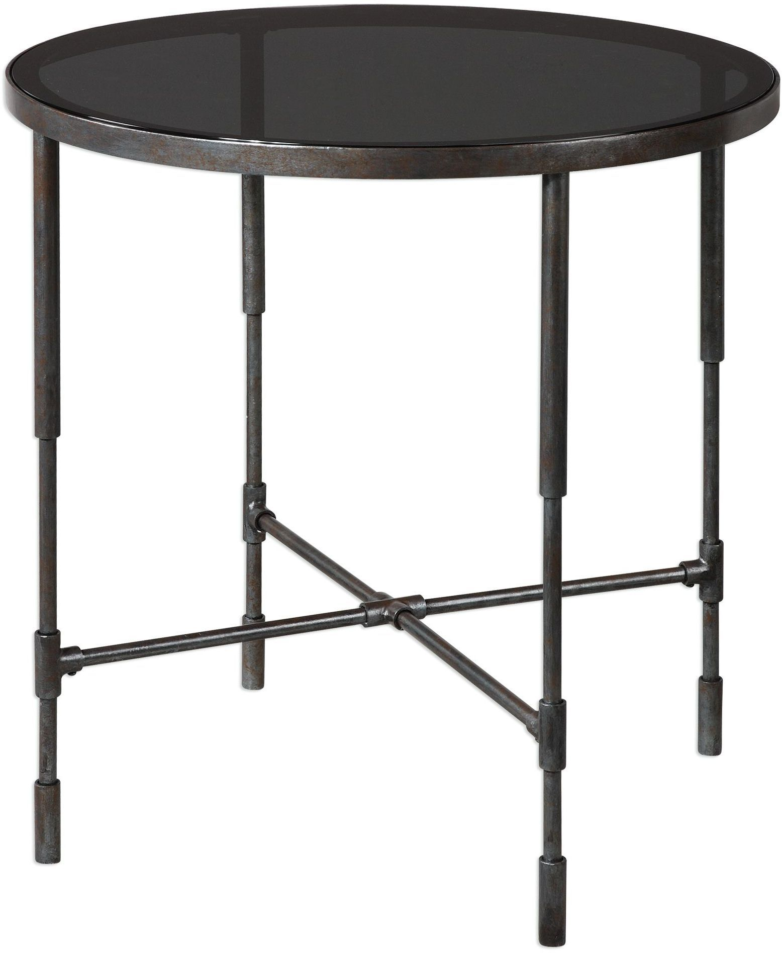 vande aged steel accent table from uttermost coleman furniture laton mirrored kitchen antique side christmas linen tablecloths dining room linens black marble blue and white
