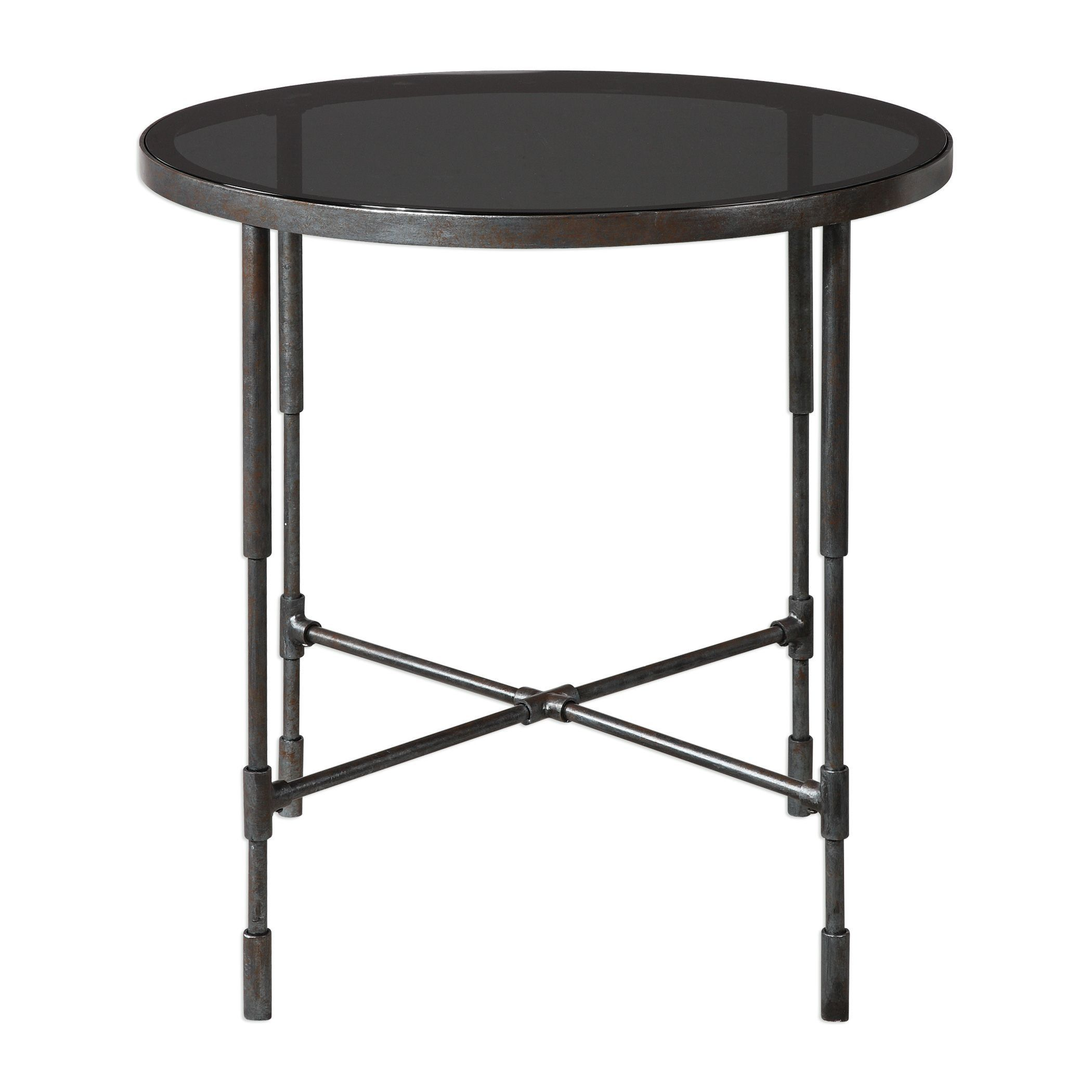 vande aged steel accent table uttermost rubati uttm tiffany shades small nest tables ikea console cabinet market umbrella stand holland furniture inch tablecloth gold metal and