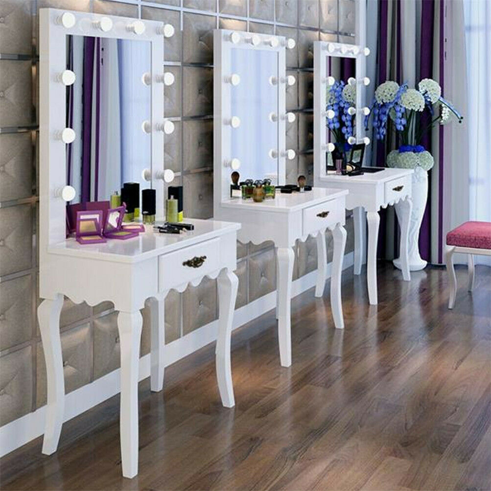 vanity makeup dressing table set hollywood illuminated mirror mirrored accent details about theatre hair salon cream colored coffee and end tables battery operated house lamps