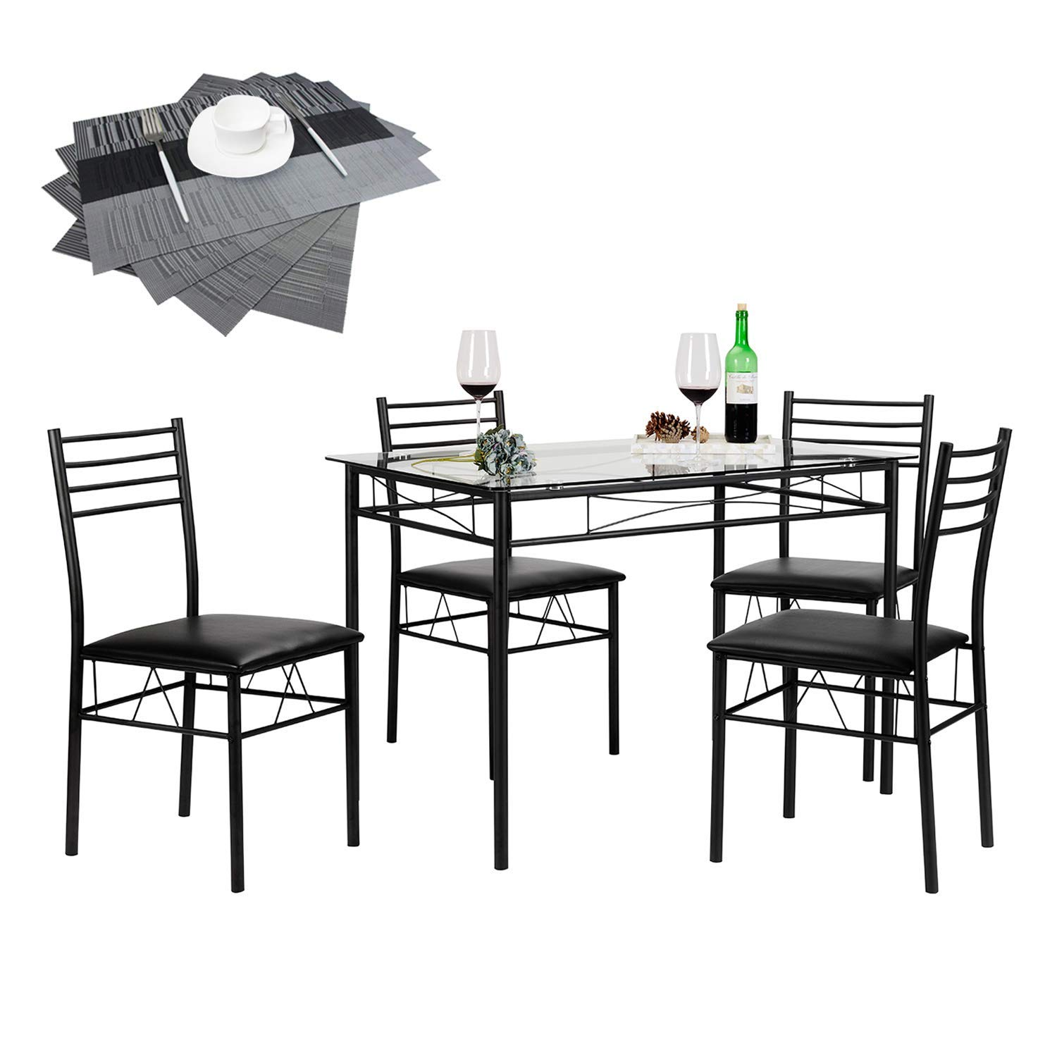 vecelo piece dining table set with chairs placemats accent pieces included black kitchen beach clock yellow patio umbrella pottery barn folding stained glass light full wall