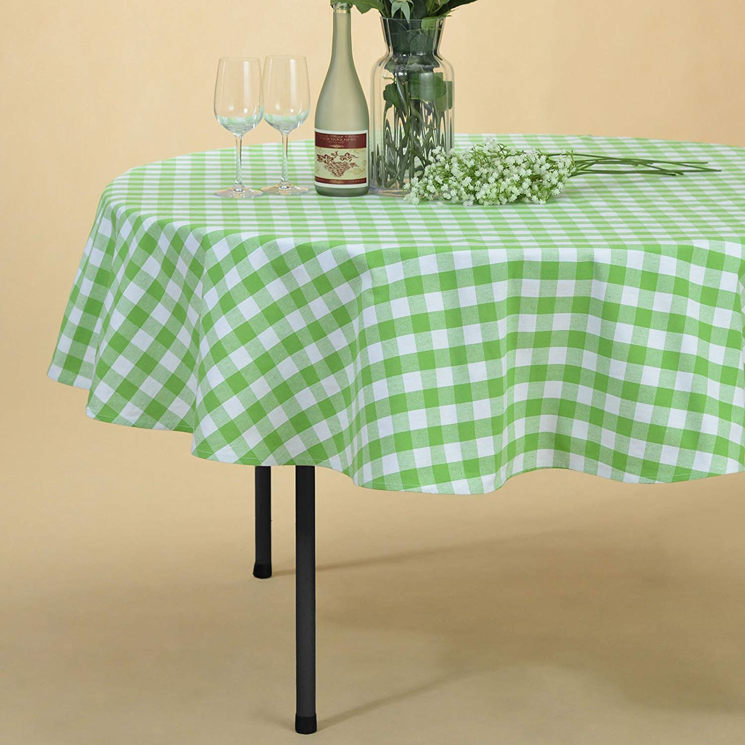veeyoo plaid check tablecloth gingham cotton for round accent home kitchen party indoor outdoor use inch seats people battery standard lamp glass and gold coffee table dining set