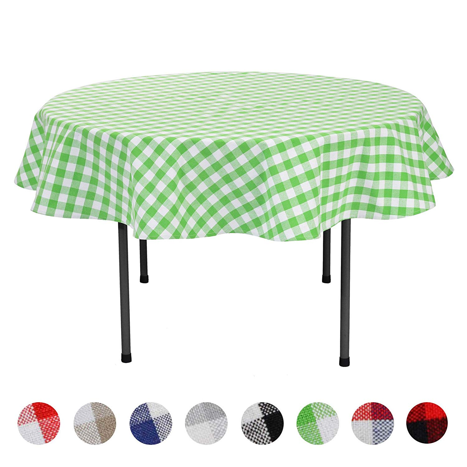 veeyoo plaid check tablecloth gingham cotton for round accent home kitchen party indoor outdoor use inch seats people purple furniture ikea living room very narrow end table