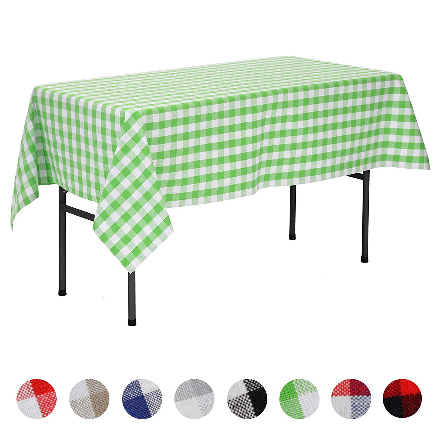 veeyoo rectangular plaid check tablecloth gingham round accent table cloths cotton for home kitchen party indoor outdoor use inch seats people lime white world furniture designer