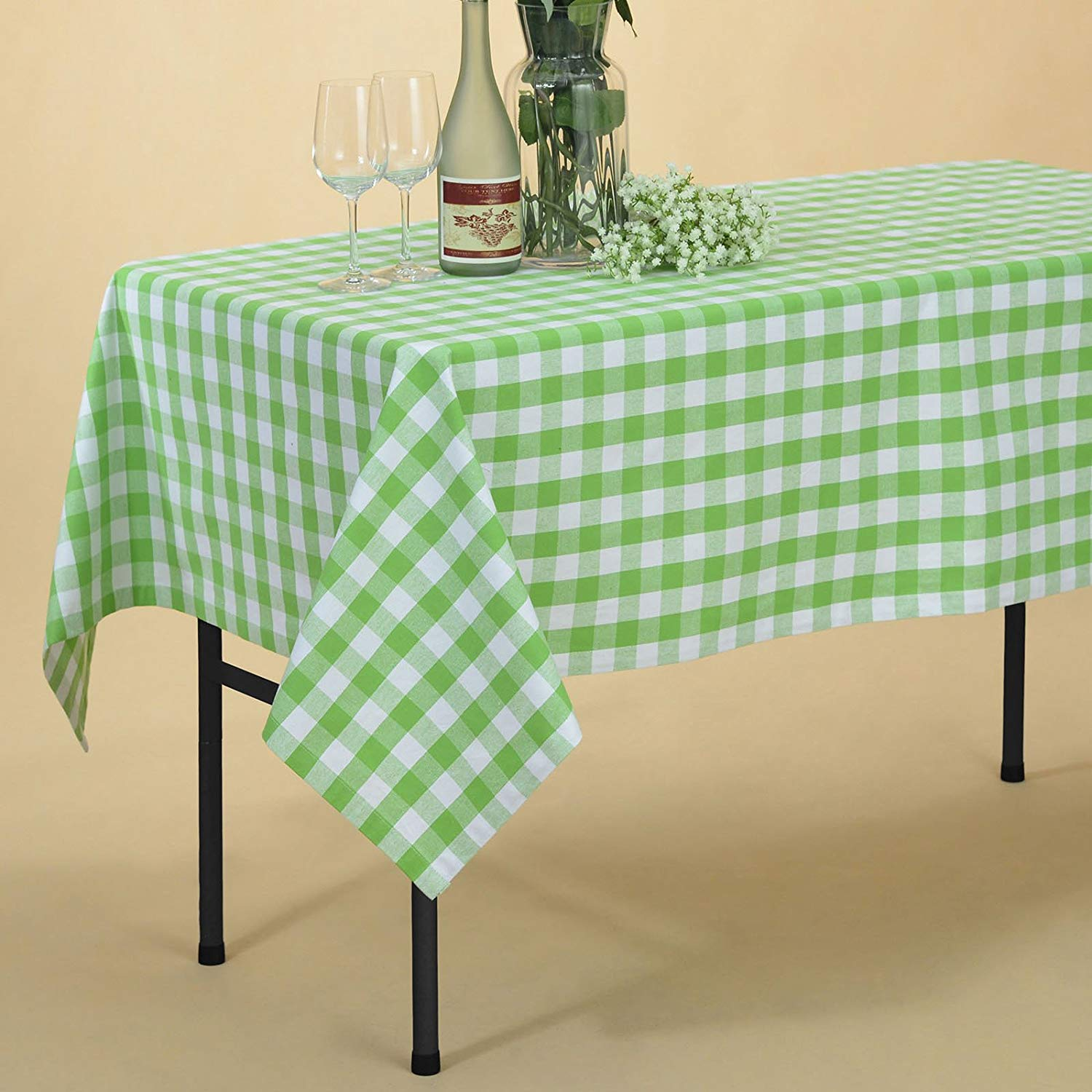 veeyoo rectangular plaid check tablecloth gingham round accent table cloths cotton for home kitchen party indoor outdoor use inch seats people tray target glass door cabinet black