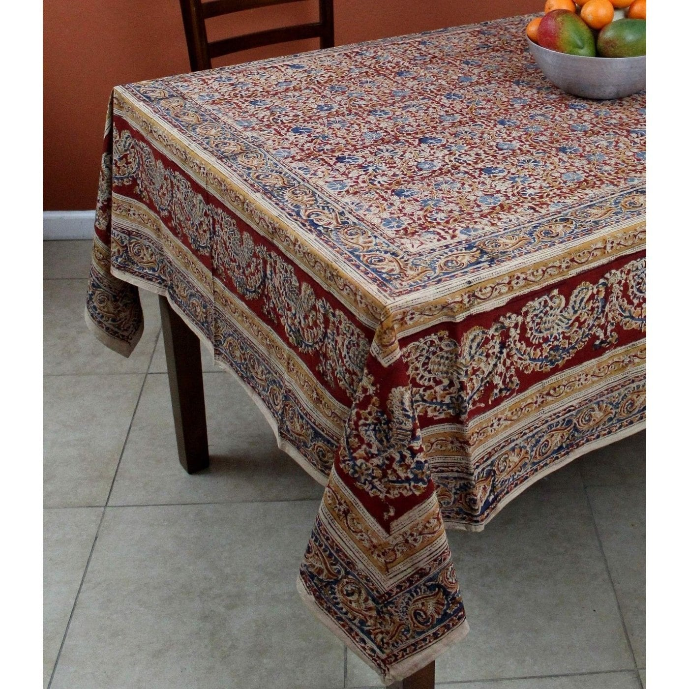 vegetable dye hand block print floral cotton round tablecloth handmade red inches rectangle square inch napkins accent rectangular west elm coffee pier one imports table and