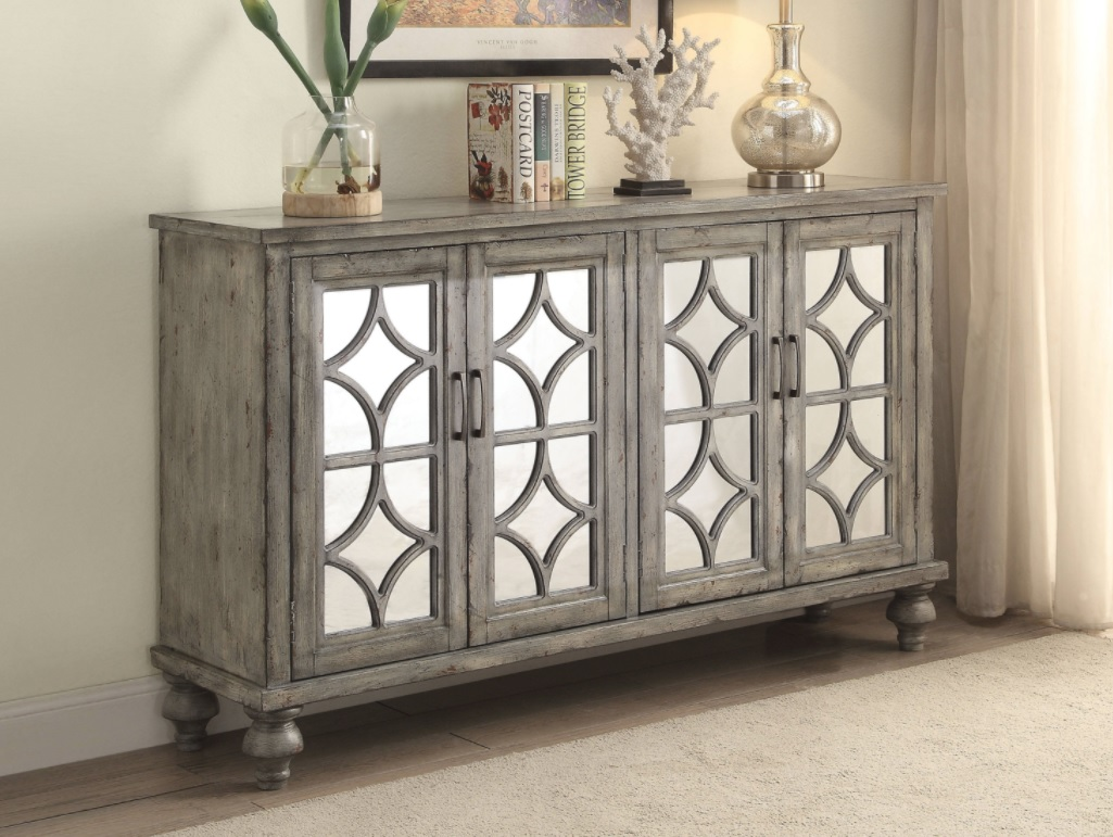 velika weathered gray finish console table casye accent lightbox ikea play glass nesting tables set ashley furniture bar height small perspex side west elm chandelier marble like