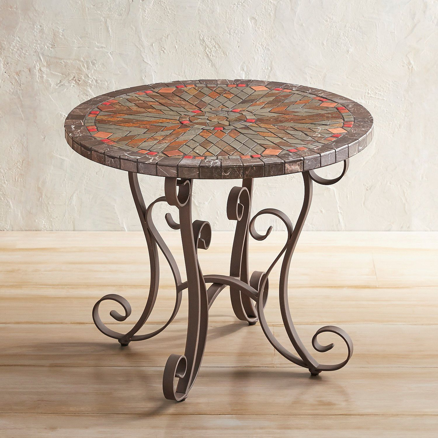 verazze slate round chat table pier imports mosaic accent indoor black metal and wood coffee leaf west elm small corner for hallway asian lamp shade concrete outdoor chairs white