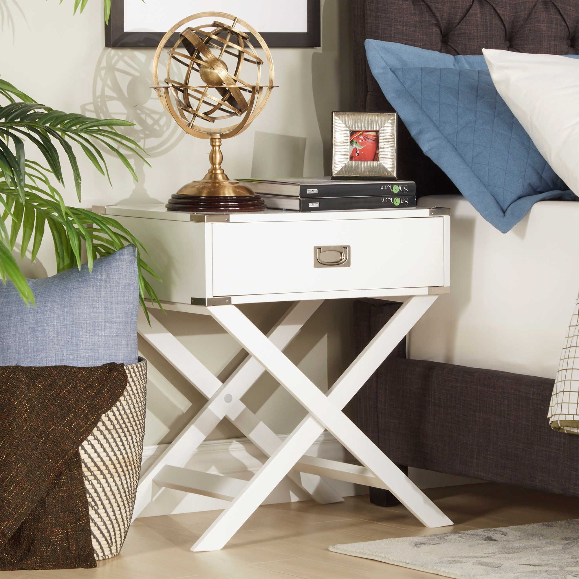 verona home one drawer accent table cross leg nightstand white entryway bench living room sets outdoor cement and benches elastic covers real wood end tables tiffany peacock floor