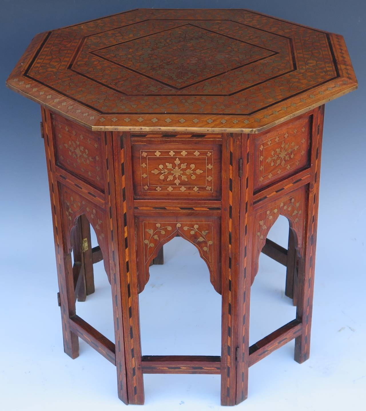 very nice early century anglo brass inlay side table img accent rare with beautiful and details most these storage baskets long wooden craigslist coffee green tiffany lamp shade