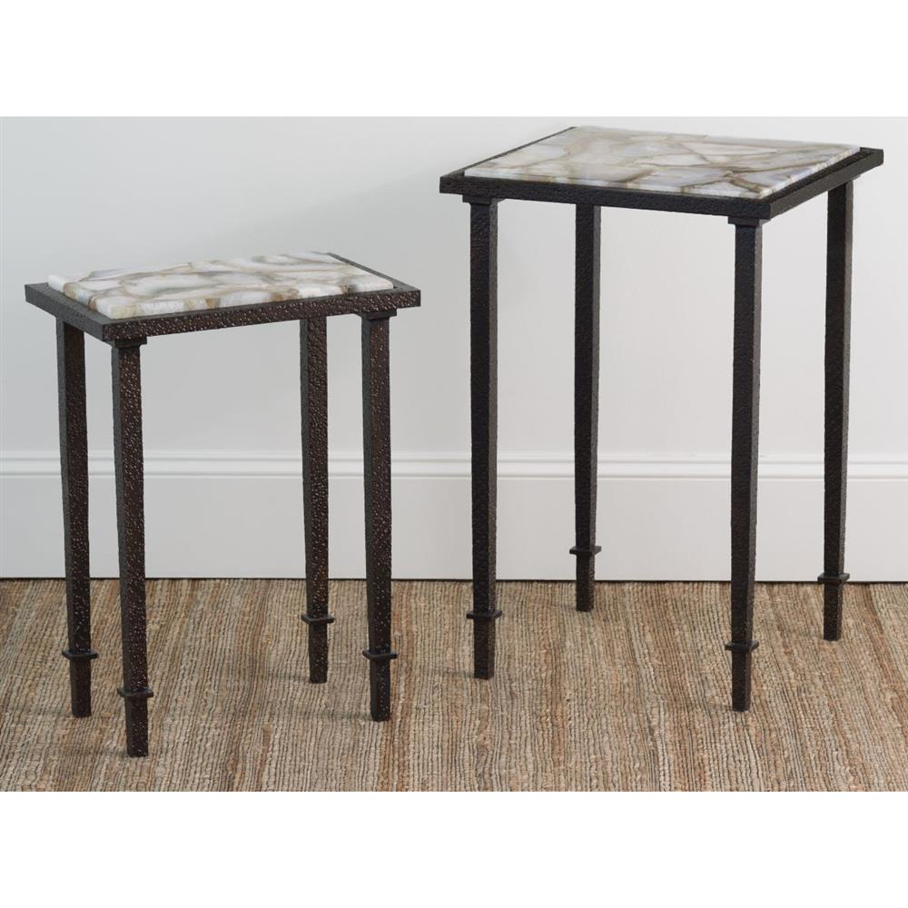 vesuvio modern classic agate stone iron rectangle side end table product accent full size plexiglass cube gold drum unique small tables round black marble coffee changing cover