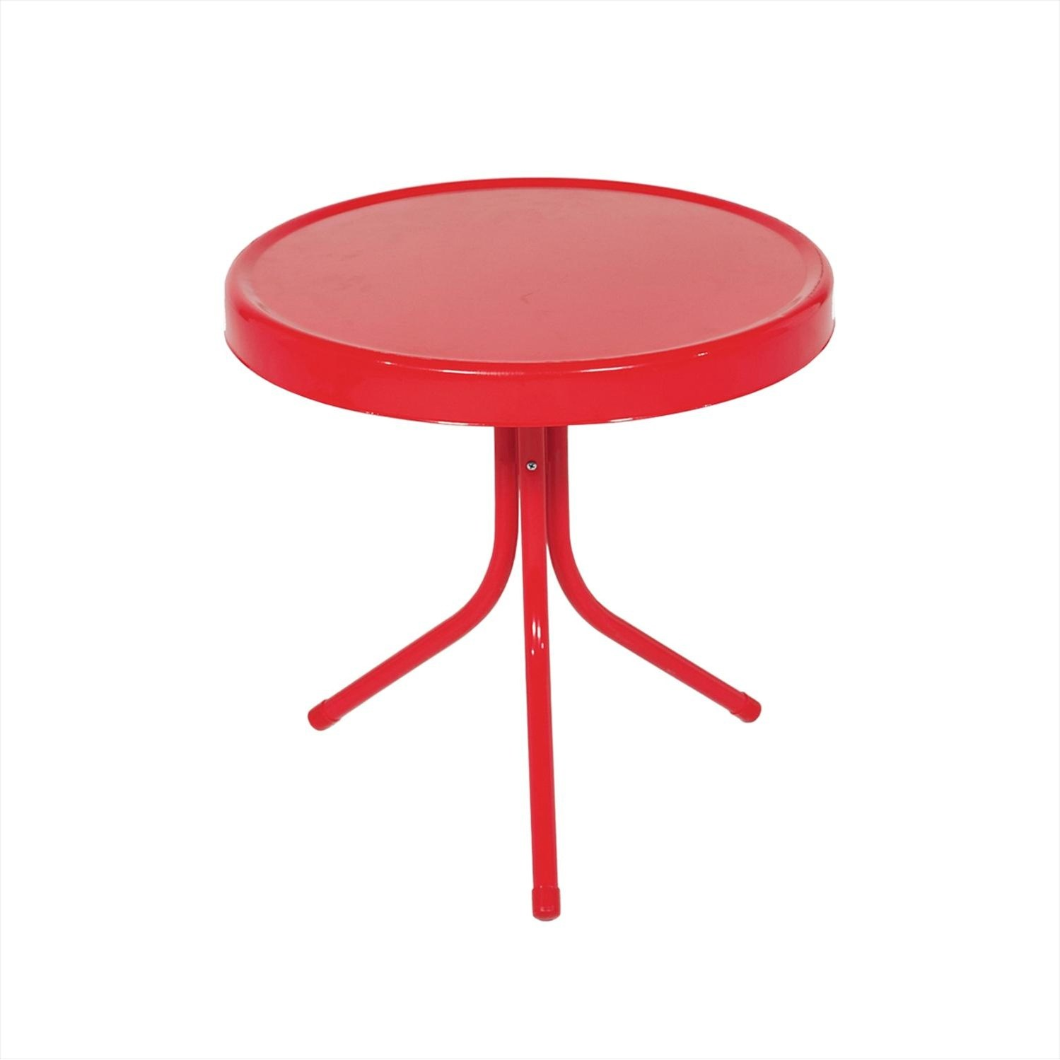 vibrant red retro metal tulip outdoor side table free accent shipping today telephone and seat tripod standing patio umbrella lamps under diy dining replica iconic furniture