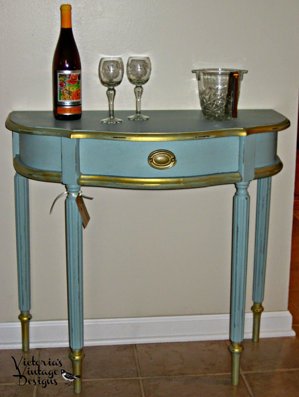 victoria vintage designs hand painted demilune accent table drawer hampton bay patio winsome instructions wood and mirrored bedside backyard ethan allen lighting black acrylic