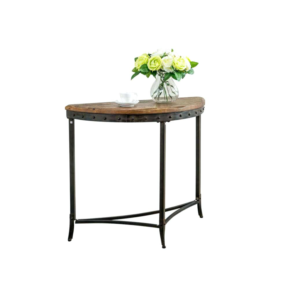 victorian accent tables carbon loft distressed pine and metal console table chairs for wine cube end edmonton tall round kitchen blue white oriental lamps sofa ikea vitra chair