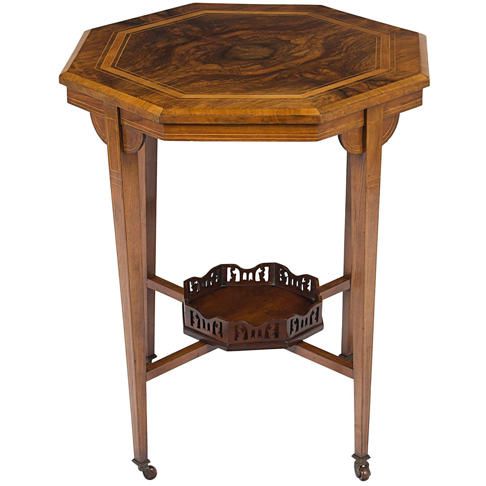 victorian inlaid walnut octagon side accent end table chairish tables rose gold target carpet transition piece small circular tablecloths sofa kids desk black dining worlds away