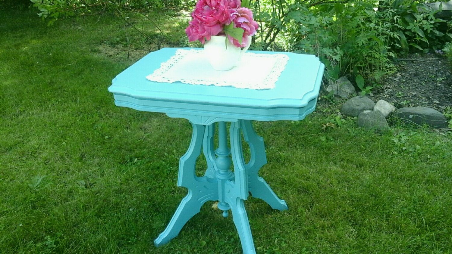 victorian table eastlake style turquoise accent side upcycled furniture only albany hudson valley tall thin bedside outdoor top barn door pool deck retro desk red patio small
