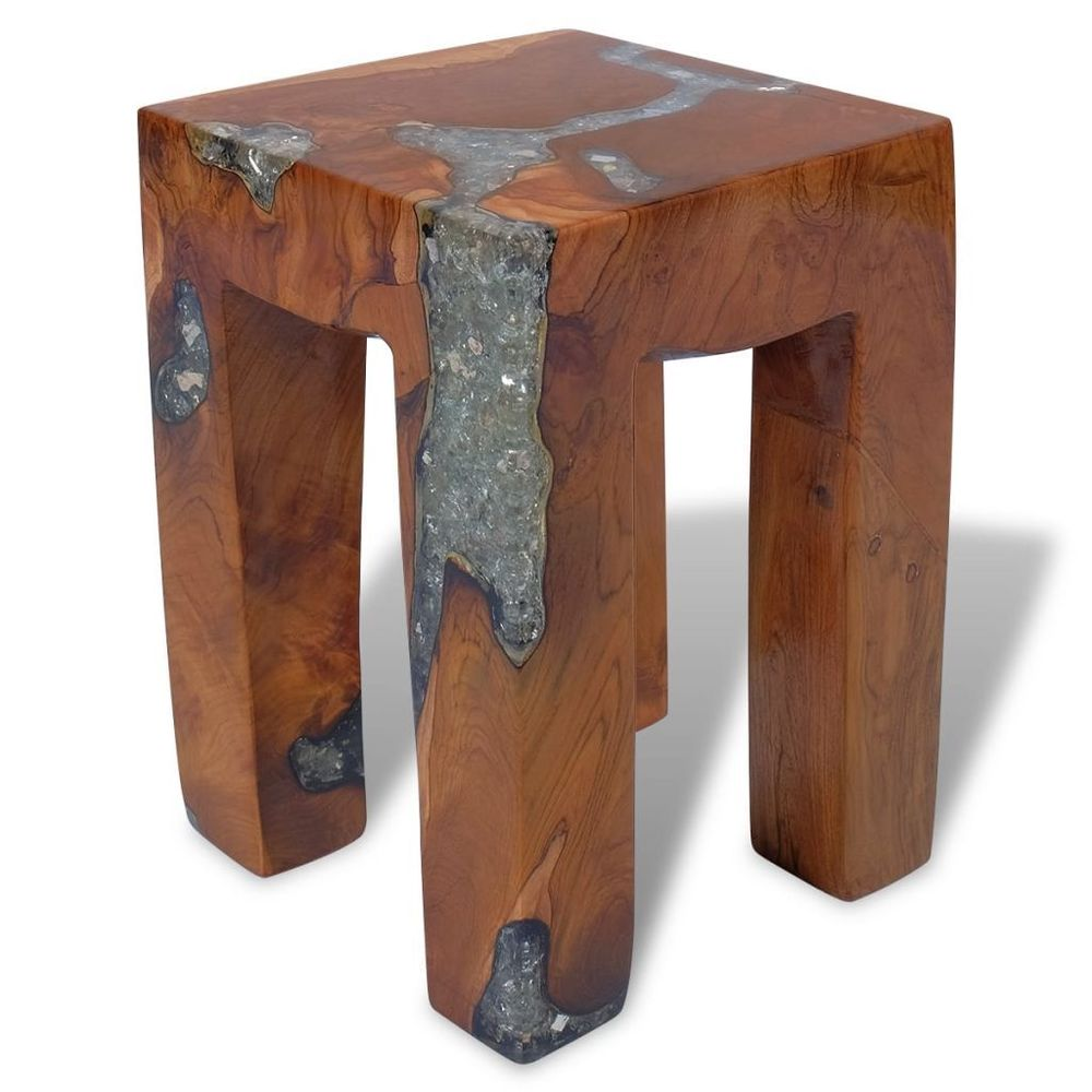 vidaxl solid teak wood stool chair side accent table flower plant details about stand resin pier furniture clearance round cloth tablecloths farm style with bench corner hall