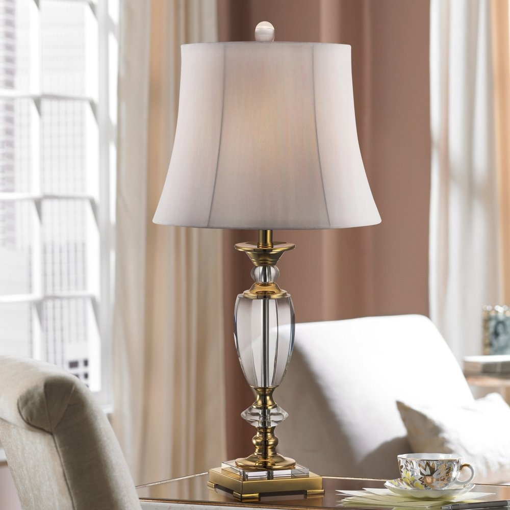 vienna full spectrum crystal and brass table lamp lamps plus accent tables threshold marble tablet with usb port pink shade modern couch side between two chairs bathroom bidet