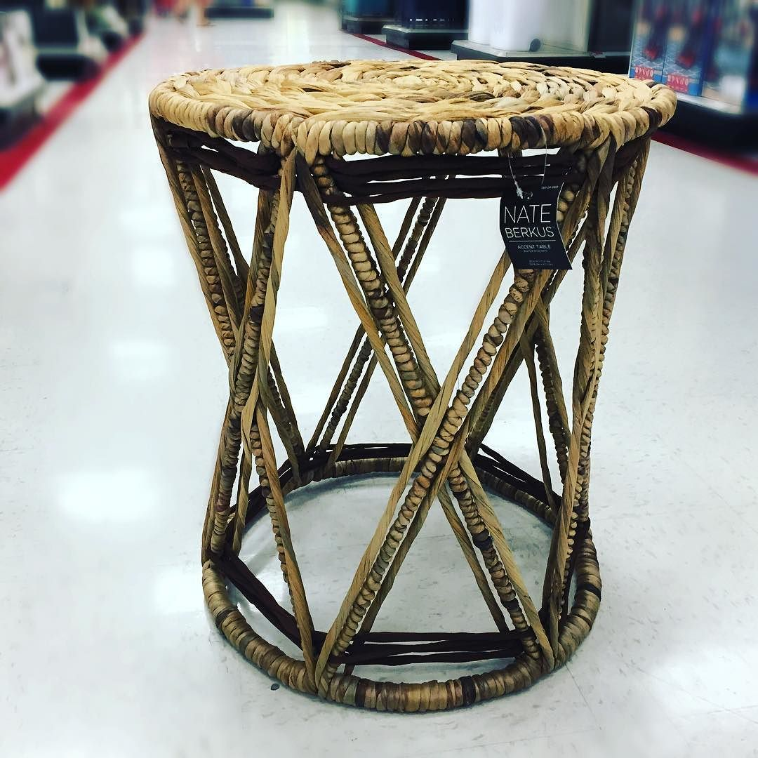 village market find nate berkus natural woven accent table target with exquisite geometric design lightweight and moveable for activity metal drum salvaged wood trestle dining