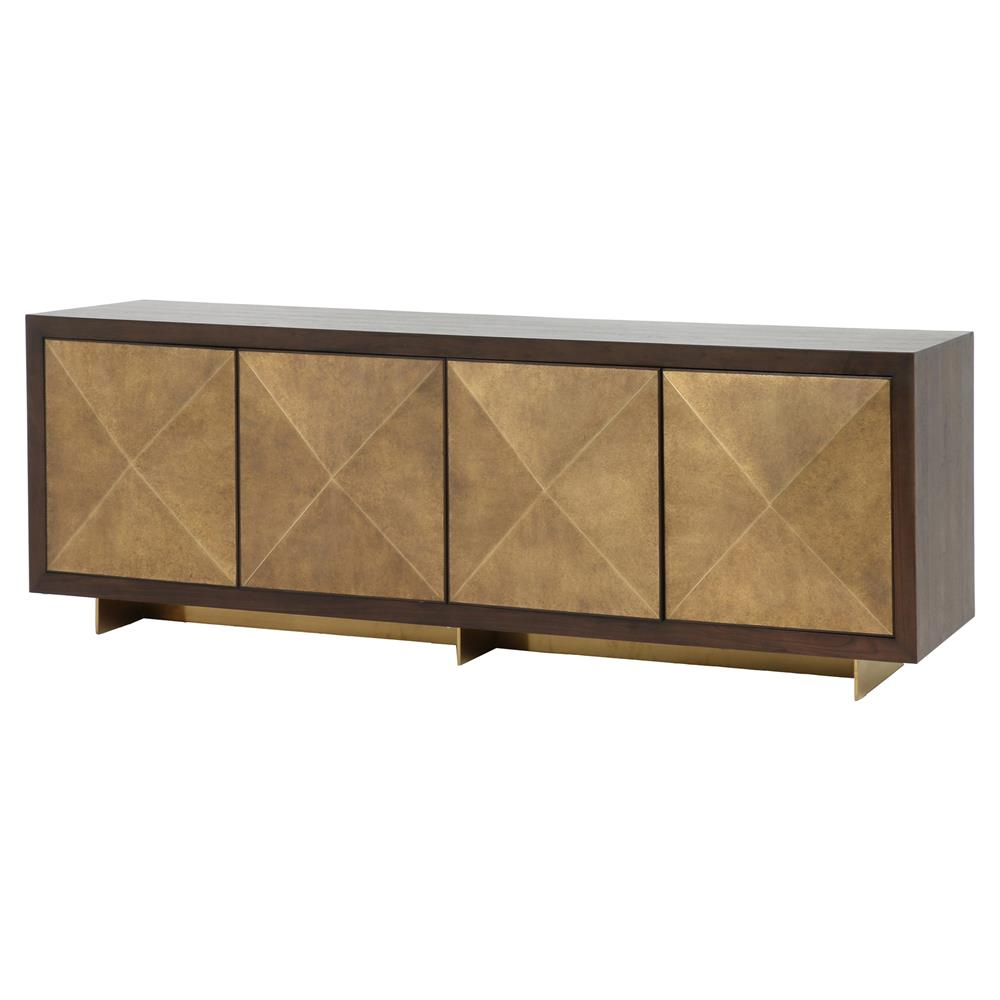 vince modern antique gold faceted door panel dark walnut wood sideboard product accent table with glass top kathy kuo home entryway storage baskets kitchen and dining room chairs