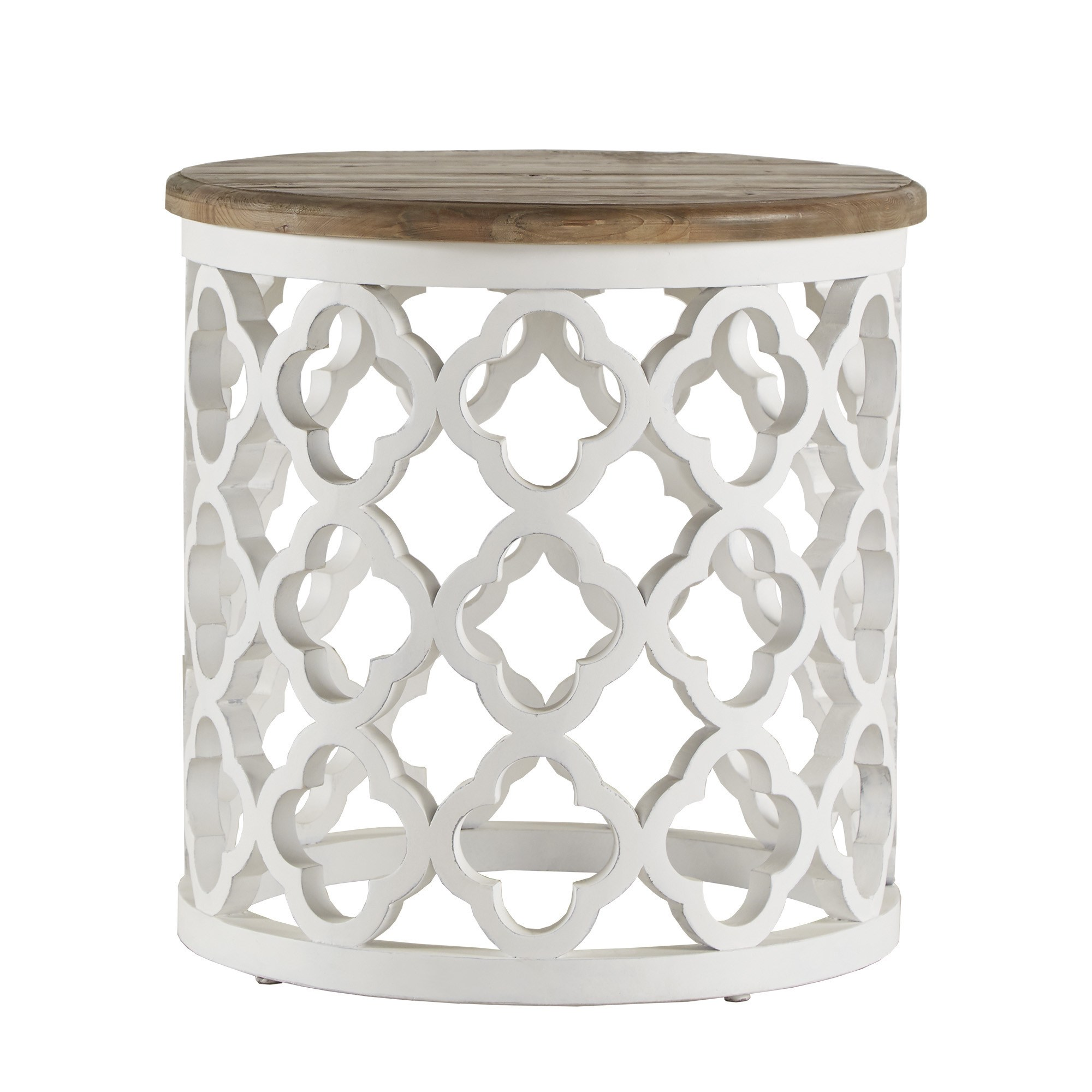 vince reclaimed wood moroccan trellis drum accent table inspire artisan cylinder free shipping today cherry corner marble top console bar bistro colorful sofa glass drawer pulls