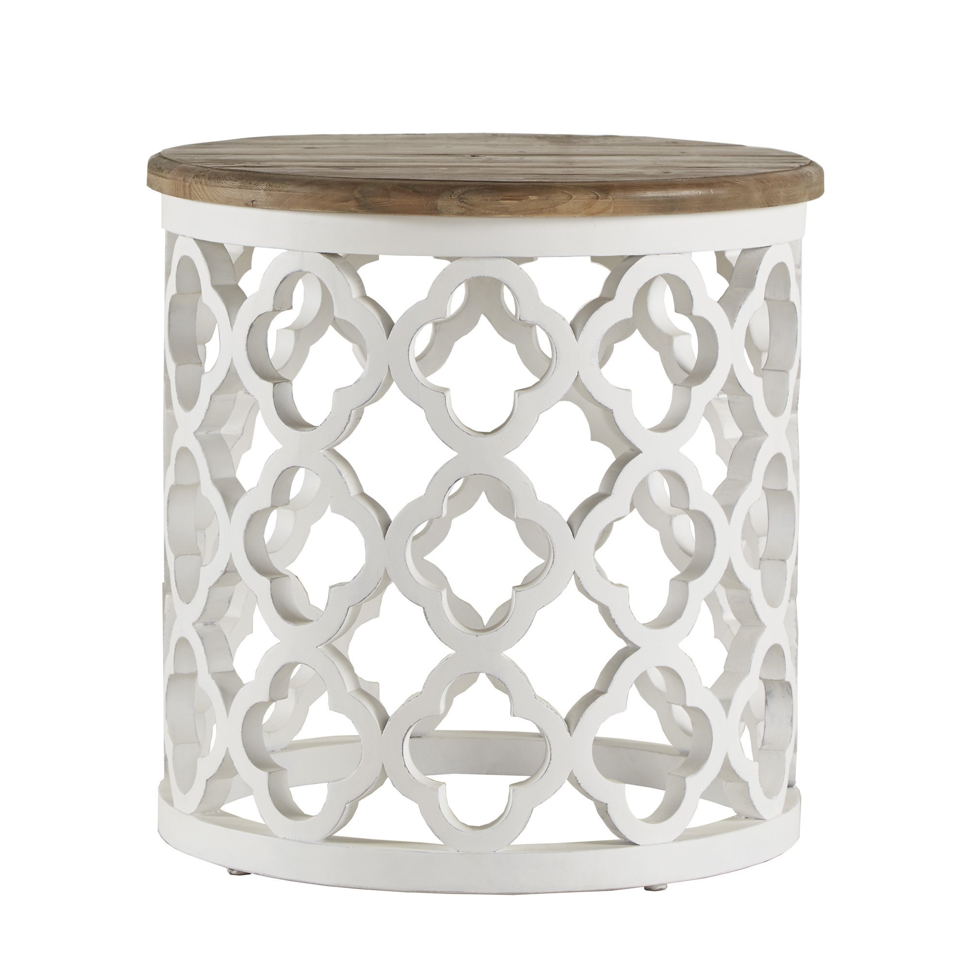 vince reclaimed wood moroccan trellis drum accent table inspire artisan free shipping today inch round tablecloth cherry dinner blue glass lamp narrow end pier one candles trestle