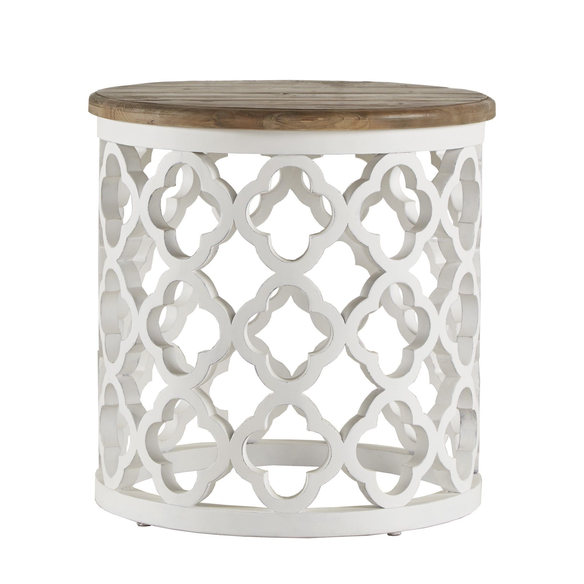 vince reclaimed wood moroccan trellis drum accent table inspire white artisan finish ashley furniture end tables with drawers homeware decor navy blue coffee dinner pub cloths