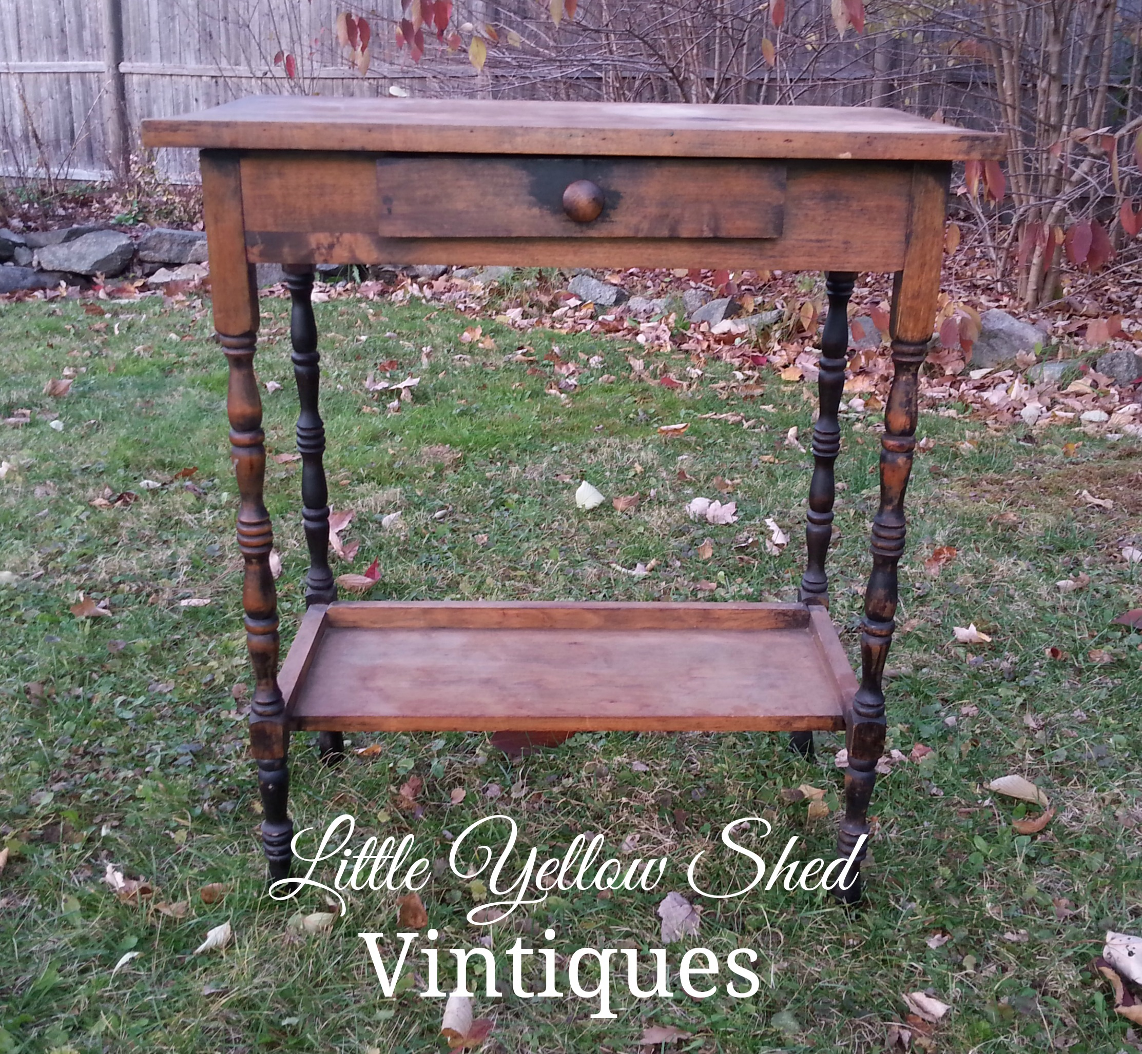 vintage accent table for silent auction little yellow shed vintiques with drawer before metal best outdoor patio furniture threshold white and chairs curtains target corner