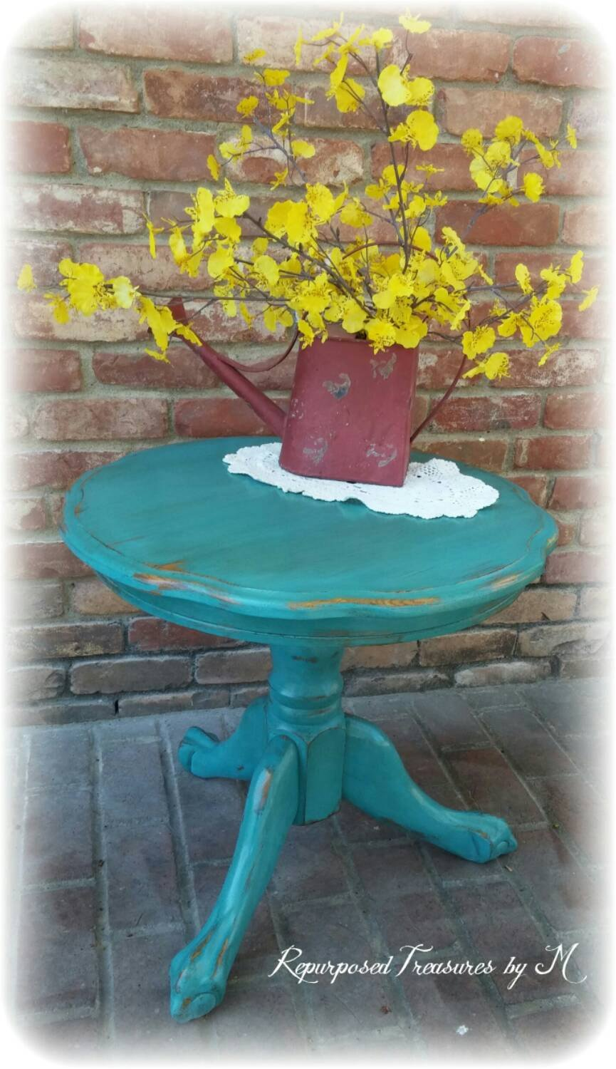 vintage accent table turquoise shabby chic fullxfull teal distressed rustic clawfoot marble high top cherry kitchen and chairs black coffee big square long mirror glass end tables